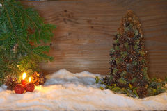 Christmas tree made of cones with fir branches Stock Photos