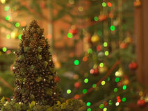 Christmas tree made of cones with fir branches Stock Photo