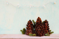 Christmas tree made of cones Royalty Free Stock Photography