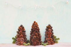 Christmas tree made of cones Royalty Free Stock Photo