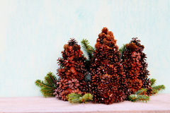 Christmas tree made of cones Royalty Free Stock Images