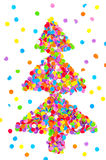 Christmas tree made of confetti. Stock Photo
