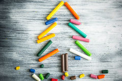 Christmas tree made of crayons Royalty Free Stock Image