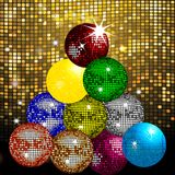 Disco balls Christmas tree on disco wall. Christmas Tree Made Of Disco Balls with Stars Over Glowing Golden Tiles Background Stock Image