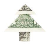 Christmas tree made of dollar bill Stock Photos