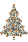 Christmas tree made from dollars. Christmas tree made of dollar bills with coins instead of Christmas toys isolated on white background Royalty Free Stock Images