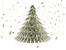 Christmas tree made by dollars with coin as snow. Christmas tree against white background made by dollars with coin as snow Stock Images