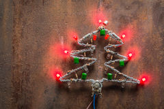 Christmas tree made of electronic components and led Royalty Free Stock Photos