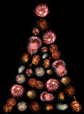 A Christmas Tree Made of Fireworks Stock Photos