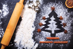 Christmas tree made from flour Royalty Free Stock Photography