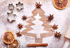 Christmas tree made from flour on desk Stock Photography