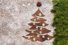 Christmas tree made of flour on wooden surface royalty free stock photo