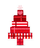Christmas tree made of gift boxes vector illustration. Happy new year greeting card Royalty Free Stock Image