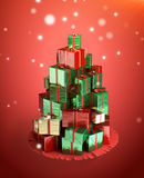 Christmas tree made from a gifts. Royalty Free Stock Photo