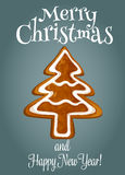 Christmas tree made of gingerbread greeting card Stock Photography