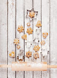 Christmas tree made of gingerbread Royalty Free Stock Photography