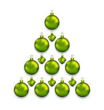 Christmas tree made of glass balls, isolated on white background Royalty Free Stock Photo