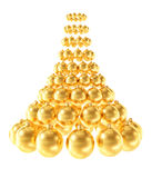 Christmas tree made of glossy golden spheres isolated on white background Royalty Free Stock Image
