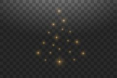 Christmas Tree made. Gold glitter bokeh lights and sparkles. Shining star, sun particles and sparks with lens flare. Effect on transparent background. Vector royalty free illustration