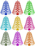 Christmas tree made of grass paper - colorful. Colorful Christmas tree made of grass paper on white background Vector Illustration