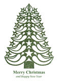 Christmas tree made of grass paper - green. Green Christmas tree made of grass paper on white background Royalty Free Illustration