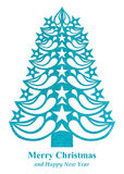 Christmas tree made of grass paper - light blue. Light blue Christmas tree made of grass paper on white background Vector Illustration