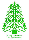 Christmas tree made of grass paper - light green. Light green Christmas tree made of grass paper on white background Vector Illustration