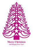 Christmas tree made of grass paper - pink. Pink Christmas tree made of grass paper on white background Stock Illustration