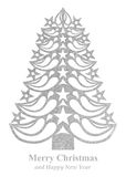 Christmas tree made of grass paper - white. White Christmas tree made of grass paper on white background Royalty Free Illustration