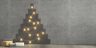 Christmas tree made of gray painted planks Stock Image