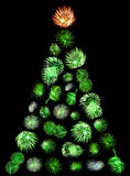A Christmas Tree Made of Green Fireworks Royalty Free Stock Image