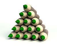 Christmas tree made ??of green wooden pencils Royalty Free Stock Photo