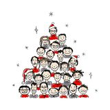 Christmas tree made from group of people for your Royalty Free Stock Photos