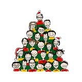 Christmas tree made from group of people for your Stock Photos