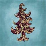 Christmas tree made of hair. Beautiful greeting Royalty Free Stock Image