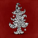 Christmas tree made of hair. Beautiful greeting Royalty Free Stock Photos