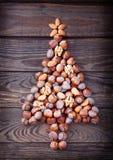 Christmas tree made of hazelnuts Royalty Free Stock Photography