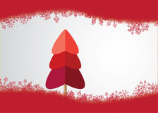 Christmas Tree Made from HeartsSnow Everywhere. Tree made from three hearts in red shades.Red snowflakes appears up and down the vector Stock Images