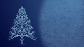Christmas Tree made from ice pattern in festive lights on a blue background. Background for Christmas wishes and New Year greeting. Christmas Tree made from ice