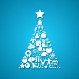 Christmas tree made of icons Stock Photo