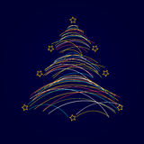 Christmas tree made from lines Stock Photos