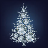 Christmas tree made a lot of diamonds Stock Images
