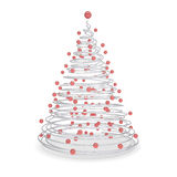 Christmas tree made of metal spirals and red balls Royalty Free Stock Photography