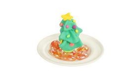 A christmas tree made with modelling clay Royalty Free Stock Photography