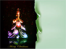 Christmas tree made of neon lights and ripped paper background Stock Images