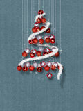 Christmas Tree Made of Ornaments on Blue Textured Background. Decorative balls in Christmas tree shape on blue texture template Stock Images