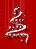 Christmas Tree Made of Ornaments on Red Background Stock Photos