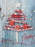 Christmas Tree. Made of painted white brances with decoration Royalty Free Stock Photography