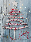 Christmas Tree. Made of painted white brances with decoration Royalty Free Stock Photo