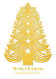 Christmas tree made of paper - golden Royalty Free Stock Images